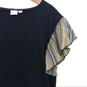 Postmark | Navy Blue Top with Green Fabric Sleeves